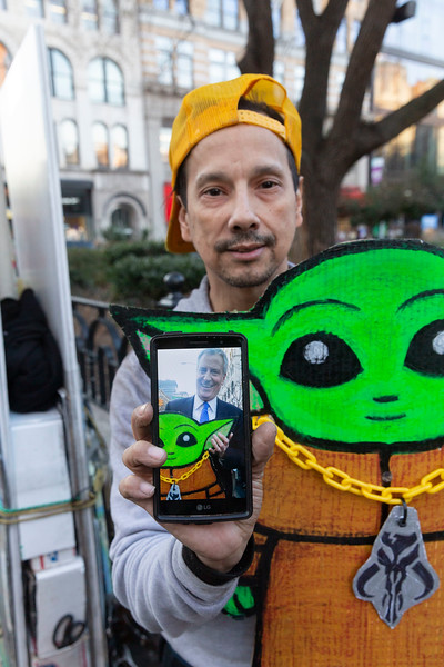 NEW YORK - March 9, 2020: for NEWS. Edwin Class, @eqnyc, got Mayor Bill de Blasio to pose for a photo with baby yoda after he handed out information flyers on the COVID-19 Coronavirus pandemic at Union Square. (Photo by: Taidgh Barron/NY Post)