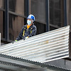 NEW YORK - May 13, 2020: for NEWS. Essential construction workers demolishing a sidewalk shed scaffolding in Midtown West near Rockefeller Center amid the COVID-19 coronavirus pandemic.  nypostinhouse (Photo by: Taidgh Barron/NY Post)