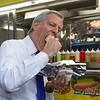 NEW YORK - March 9, 2020: for NEWS. Mayor Mayor Bill de Blasio eats a hot dog from a cart on Union Square West after handing out information flyers on the COVID-19 Coronavirus pandemic at Union Square. (Photo by: Taidgh Barron/NY Post)