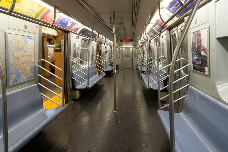 NEW YORK - March 23, 2020: for NEWS. An empty Brooklyn-bound L subway train in Midtown during the evening rush hour amid the COVID-19 Coronavirus pandemic. nypostinhouse (Photo by: Taidgh Barron/NY Post)
