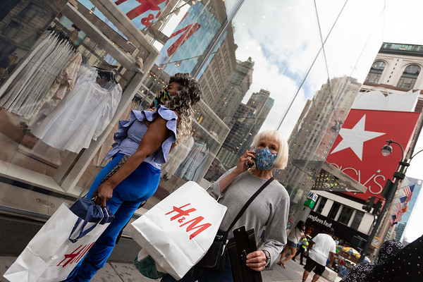 NEW YORK - July 7, 2020: for NEWS. Shopping activity around Macy's and 34th Street Herald Square returning to midtown amid phase 3 reopening from the COVID-19 coronavirus pandemic.   Nypostinhouse (Photo by: Taidgh Barron/NY Post)