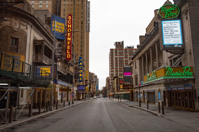 NEW YORK - March 19, 2020: for NEWS.  Empty closed Broadway theaters on West 45th Street amid the COVID-19 coronavirus pandemic(Photo by: Taidgh Barron/NY Post)