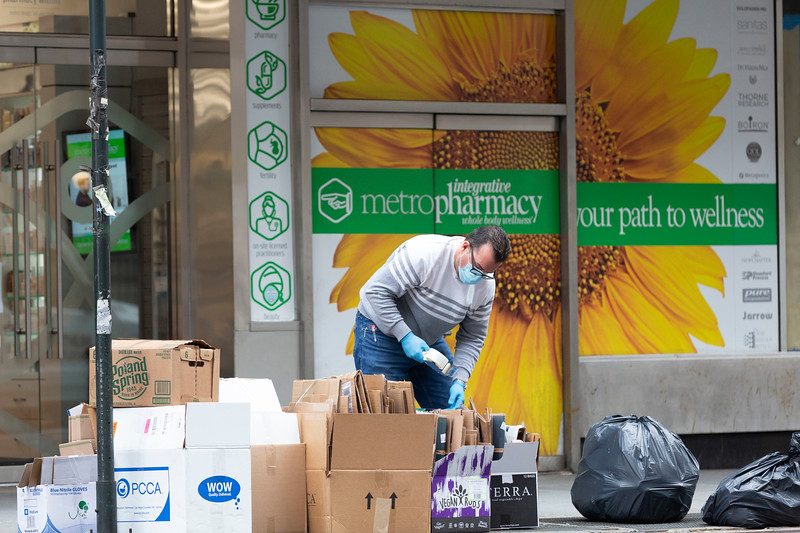 NEW YORK - March 25, 2020: for NEWS. MetroPharmacy on Lexington Avenue, which was fined $37,000 by the Department of Consumer Affairs for price gouging on N95 and surgical masks at rates of up to $200 for a box of 20 masks in the Upper East Side across from CUNY Hunter College. amid the COVID-19 Coronavirus pandemic. nypostinhouse (Photo by: Taidgh Barron/NY Post)