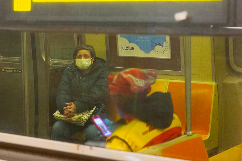 NEW YORK - March 31, 2020: for NEWS. An A train running an the local track, with B and C train service canceled at the Columbus Circle - 59th Street MTA subway station amid the COVID-19 Coronavirus pandemic. nypostinhouse (Photo by: Taidgh Barron/NY Post)
