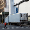 NEW YORK - April 16, 2020: for NEWS. A FEMA makeshift morgue trailer parked outside Lenox Hill - Northwell Health Greenwich Village Hospital (former St. Vincent's Hospital) amid the COVID-19 Coronavirus pandemic. nypostinhouse (Photo by: Taidgh Barron/NY Post)