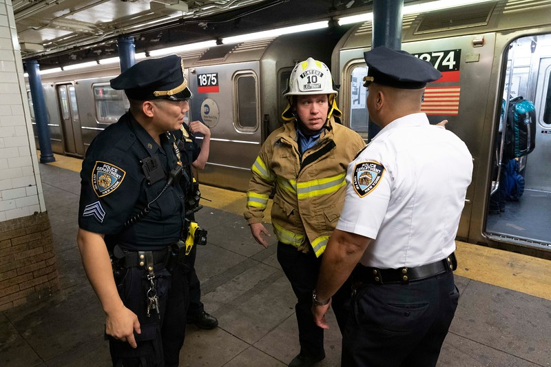 NEW YORK - September 26, 2019: for NEWS. Lieutenant Jeremy Griffel of EMS Station 10 responding to an attempted suicide in the subway at the 86th Street 1 train station at Broadway in the Upper West Side, Manhattan. (Photo by Taidgh Barron/NY POST)