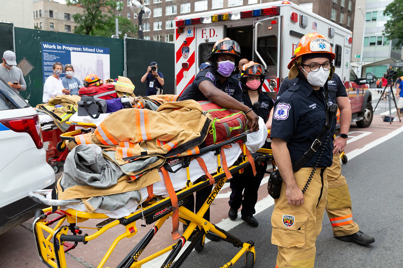 NEW YORK - July 16, 2020: for NEWS. FDNY firemen respond to a building collapse at East 34th Street and 3rd Avenue after construction workers were excavating an adjacent empty lot amid phase 3 reopening from the COVID-19 coronavirus pandemic.   Nypostinhouse (Photo by: Taidgh Barron/NY Post)