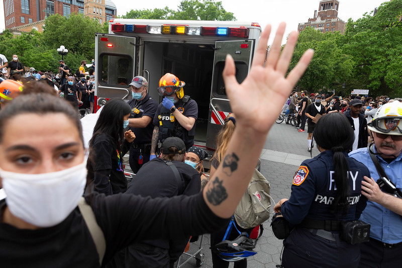 NEW YORK - June 2, 2020: for NEWS. Protesters attempt to block people gathering in Washington Square Park from taking pictures of a protester being loaded into an ambulance during a peaceful gathering amid violent riots and looting spurred by the police involved killing of George Floyd.  nypostinhouse (Photo by: Taidgh Barron/NY Post)