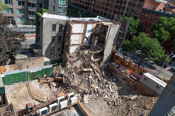 NEW YORK - July 16, 2020: for NEWS. A major secondary building collapse at East 34th Street and 3rd Avenue after construction workers were excavating an adjacent empty lot amid phase 3 reopening from the COVID-19 coronavirus pandemic. The building suffered one collapse, but firemen had to return after more of the building fell.   Nypostinhouse (Photo by: Taidgh Barron/NY Post)