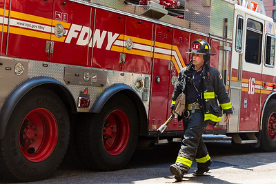 NEW YORK - July 6, 2020: for NEWS. FDNY firemen and EMS respond to a minor car accident coming off the 59th Street bridge in the Upper East Side amid phase 3 reopening from the COVID-19 coronavirus pandemic.   Nypostinhouse (Photo by: Taidgh Barron/NY Post)