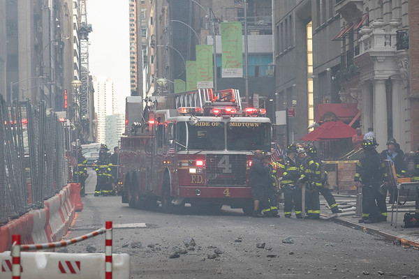 NEW YORK - October 10, 2019: for NEWS. Fire and EMS respond to a generator explosion at a construction site on 47th Street between 6th and 7th Avenues. (Photo by Taidgh Barron/NY POST)