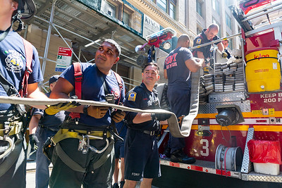 NEW YORK - June 17 2020: for NEWS. FDNY firefighter take up from a quickly knocked down high rise fire at 202 West 24th Street in Chelsea, Midtown. (Photo by: Taidgh Barron/NY Post)