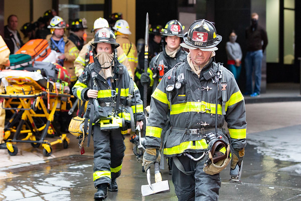 """NEW YORK - April 23, 2020: for NEWS. FDNY Ladder Company """"Recon"""" 3 firefighters respond to a high rise fire at 245 E 40th Street Murray Hill Towers amid the COVID-19 Coronavirus pandemic. nypostinhouse (Photo by: Taidgh Barron/NY Post)"""