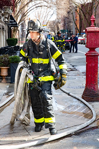 NEW YORK - February 24, 2020: for NEWS. FDNY Firefighters respond to a call of fire between the walls on the 4th floor of 201 E 30th Street in Kips Bay, Midtown. (Photo by: Taidgh Barron/NY Post)