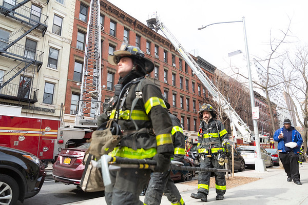 NEW YORK - March 11, 2020: for NEWS. FDNY Firefighters and EMS respond to a 2-alarm fire in Chelsea at West 17th Street and 8th Avenue. (Photo by: Taidgh Barron/NY Post)