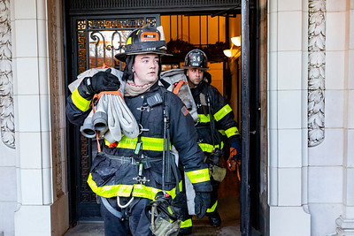 NEW YORK - December 20, 2019: for NEWS. Firemen from Engine 54 leaving 222 Central Park South after extinguishing an All Hands call fire. (Photo by Taidgh Barron/NY Post)