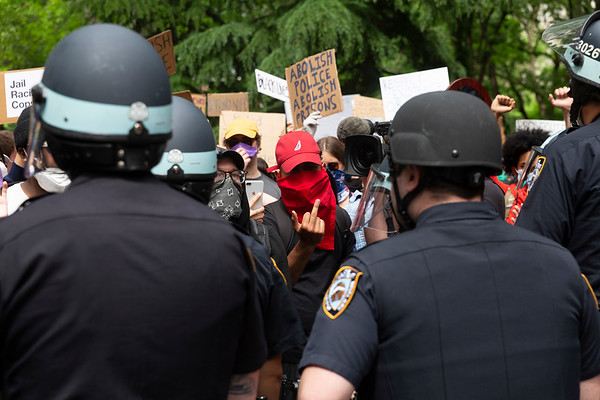 NEW YORK - June 2, 2020: for NEWS. A mass of peaceful protesters face down NYPD police officers in Washington Square Park before marching to Gracie Mansion amid violent riots and looting spurred by the police involved killing of George Floyd.  nypostinhouse (Photo by: Taidgh Barron/NY Post)