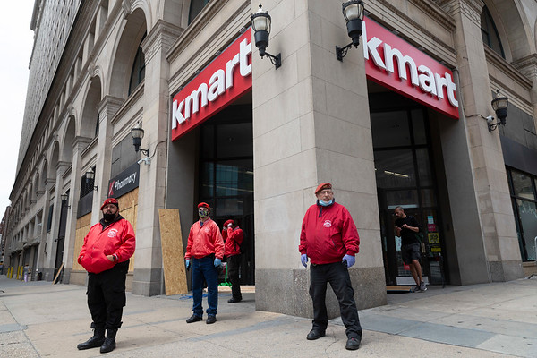 NEW YORK - June 2, 2020: for NEWS. The Guardian Angels guard a looted K-Mart after looters smashed through the window and ransacked the store amid the George Floyd riots.  nypostinhouse (Photo by: Taidgh Barron/NY Post)