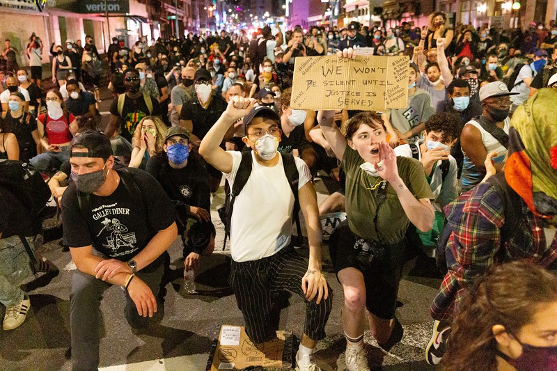 NEW YORK - June 56 2020: for NEWS. Peaceful Black Lives Matter protesters march in SoHo past the mayor's 8 p.m. curfew to protest NYPD police brutality in mass demonstrations spurred by the police involved killing of George Floyd.  nypostinhouse (Photo by: Taidgh Barron/NY Post)
