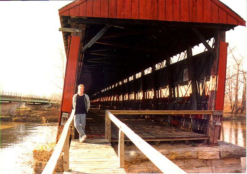 Bell's Ford Covered Bridge, Jackson County, Indiana.  Photographed in 1989.