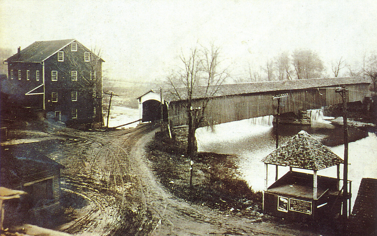 Old Postcard of the Bridgeton Bridge and Mill.  Approximately 1910.