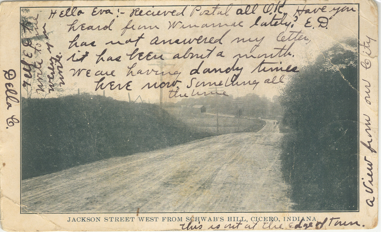 Old Postcard of a covered bridge in Cicero, Indiana.  Located Jacson Street west from schwab's hill.  Post mark on reverse is 1908.