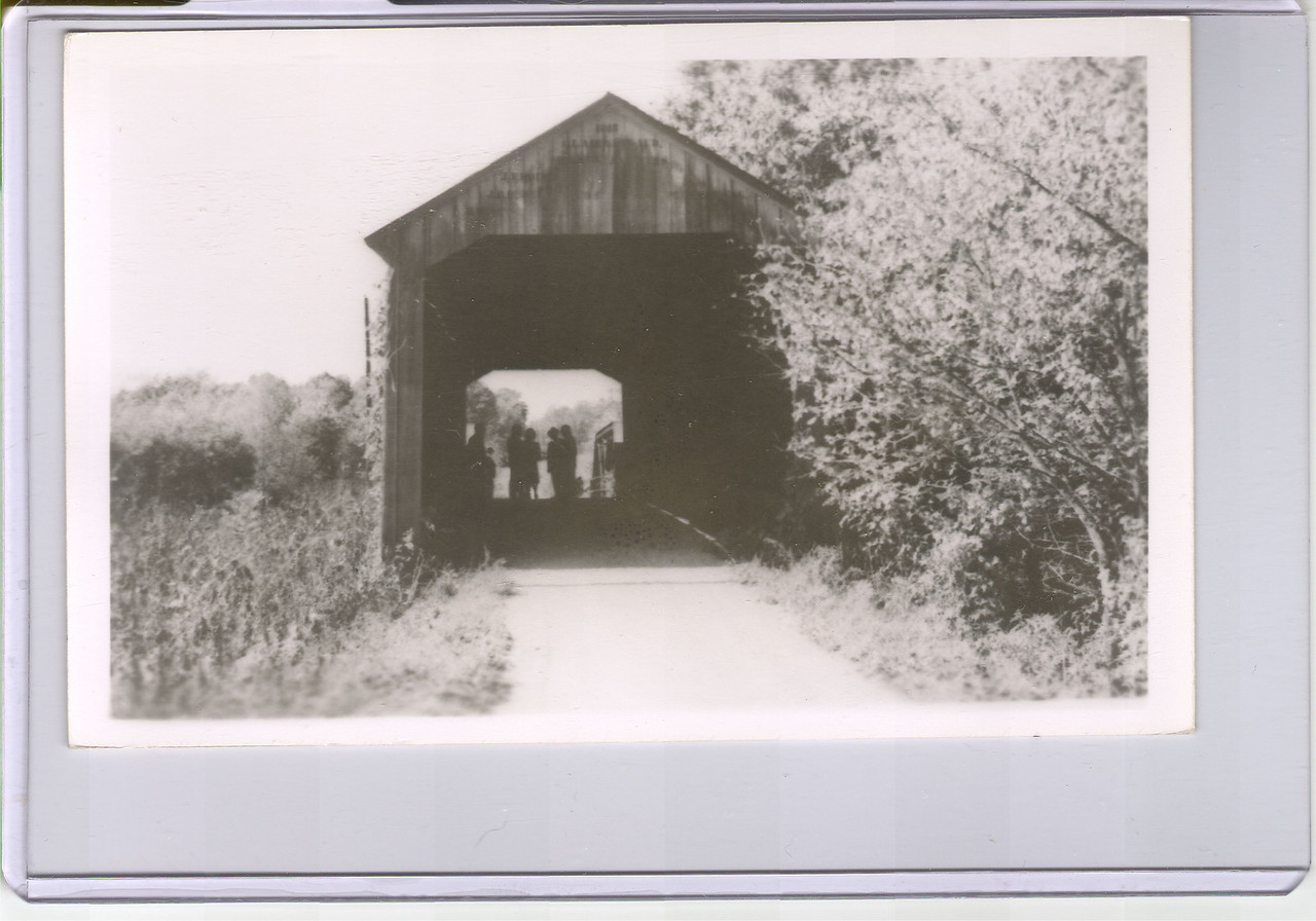 County Line Covered Bridge near Cloverdale, Indiana.  Old postcard.