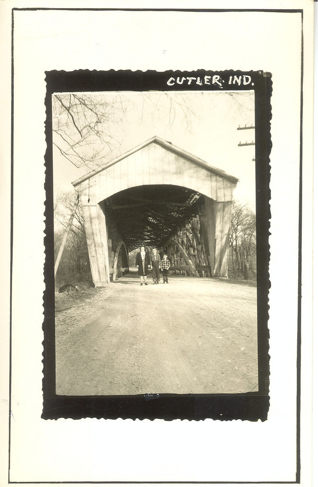Cutler Bridge, Carroll County, Indiana.  Note people standing in front of bridge.
