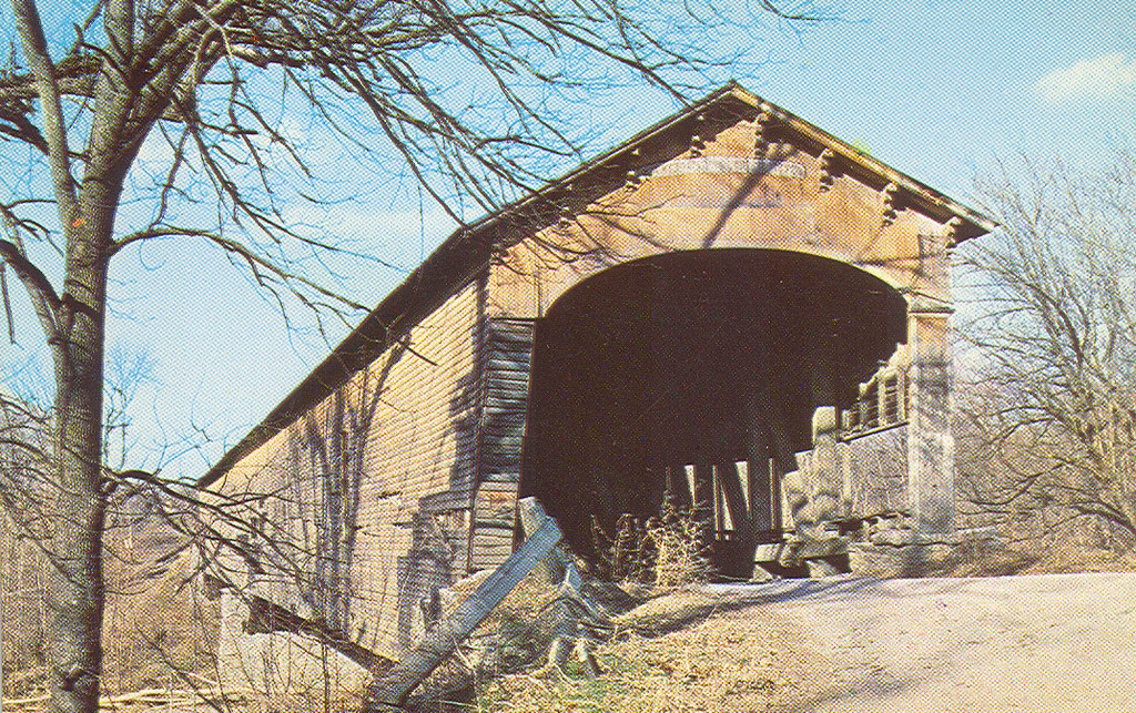 Postcard showing the Dunlapsville Covered Bridge which was destroyed by arson in 1971.