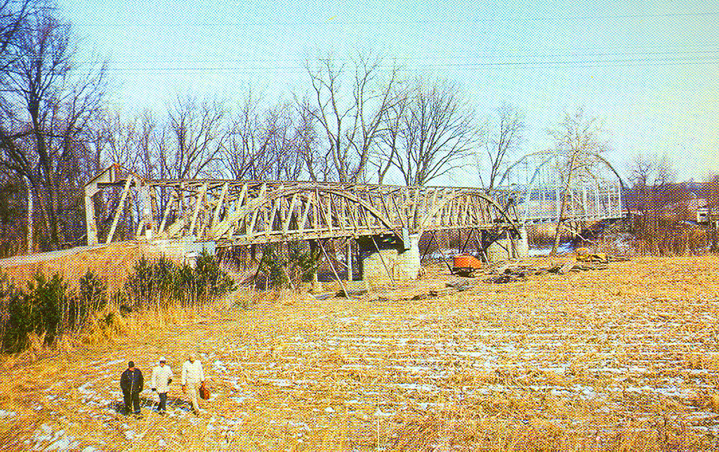 Freedom Covered Bridge, Owen County, Indiana.  This postcard view shows bridge in 1966 as it was being dismantled.