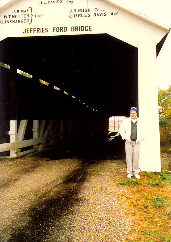 Jeffries Ford Coverd Bridge, Parke County, Indiana.  This photo is from around 1987.