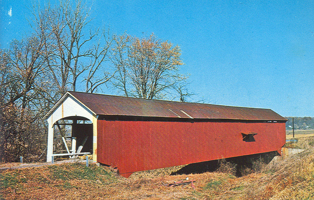 Jessup Covered Bridge, Parke County, Indiana.  This postcard view shows bridge in its original location.