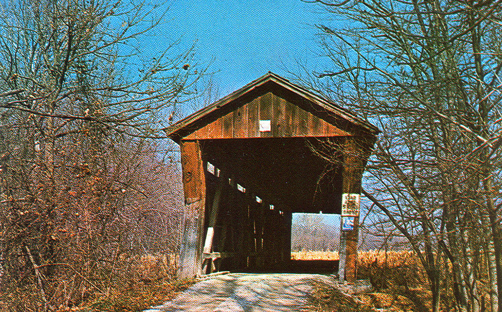 McMillan Covered Bridge, Monroe County, Indiana.  Bridge was removed to make way for Monroe Reservoir.