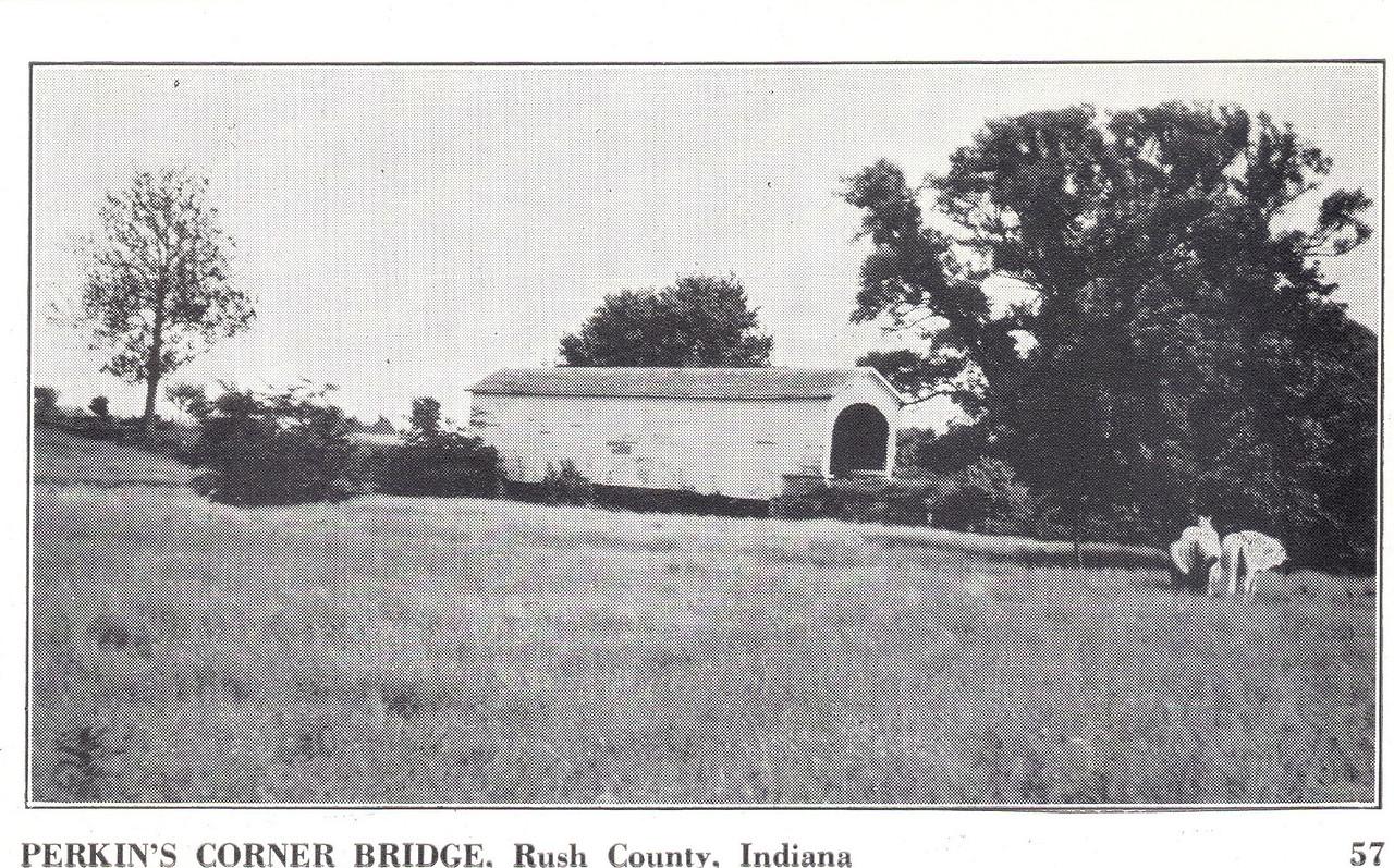 Perkins Corner Covered Bridge, Rush County, Indiana.  Postcard Photo.