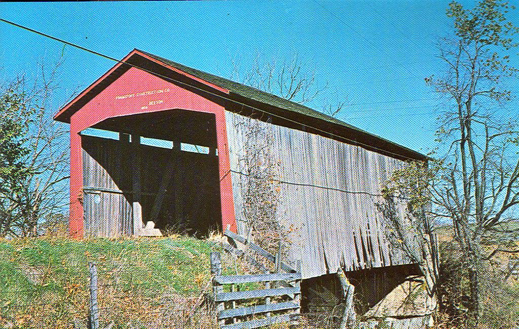 Beeson Covered Bridge in its original location near Marshall, Indiana.