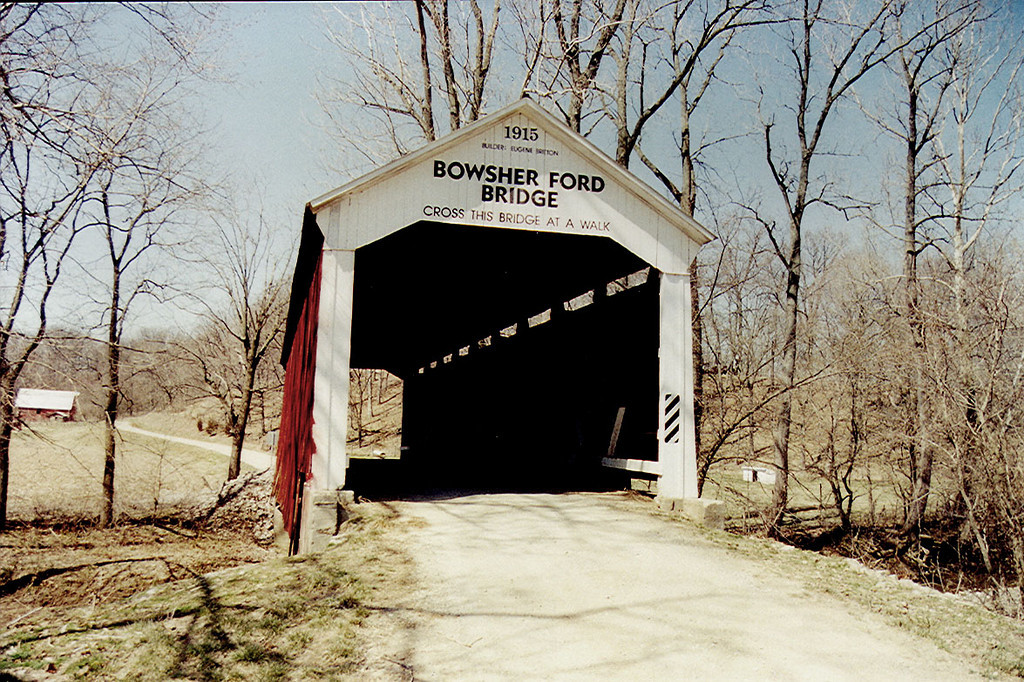 Bowsher Ford Covered  Bridge, Parke County, Indiana.  Photo March 1999.
