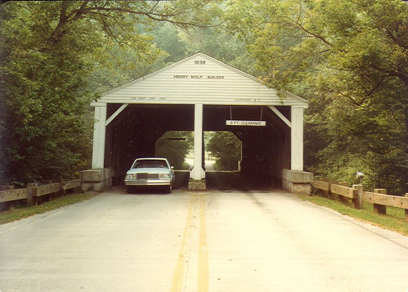 Entrance to Brown County State Park.  This two lane bridge was built in Putnam County and moved to present location in 1932.  Photographed in August 1981.