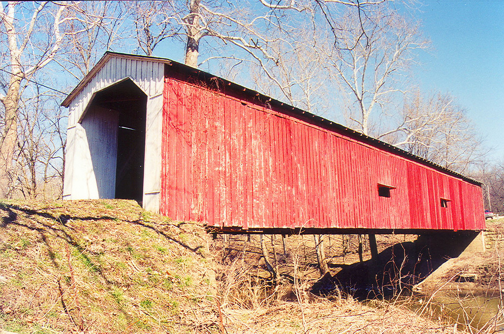 Cades Mill Covered Bridge, Fountain County, Indiana.  Photographed March 1999.