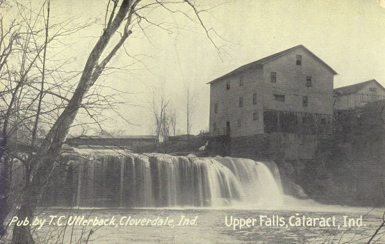 Old Cataract Falls Post Card showing the Old Mill and covered bridge in the background.