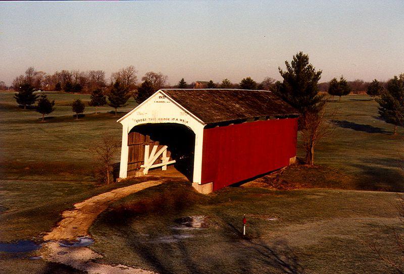 Catlin Covered Bridge, Parke County, Indiana.  Photographed January 1983.