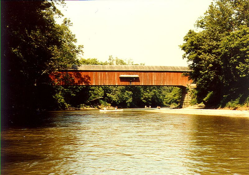 Cox Ford Covered Bridge, Parke County, Indiana.  Photographed during canoe trip in Summer 1983.