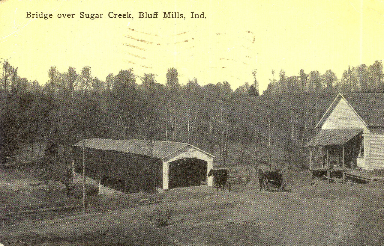 Old Postcard of Montgomery County's Deers Mill Covered Bridge, postmarked 1913.