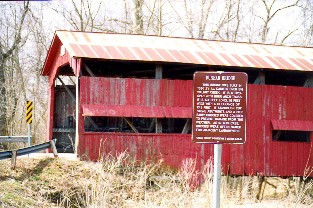 Dunbar Covered Bridge in Putnam County, Indiana.  Photographed March 1999.