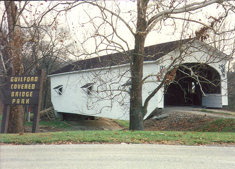 Guilford Covered Bridge, Dearborne County, Indiana.  This bridge was burned later in the 1990's.  I believe it was salvaged and still stands at this location?  This photo was taken in November 1992.