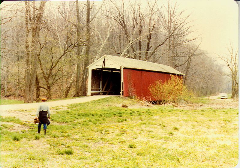 Harry Evans Covered Bridge, Parke County, Indiana.  Photographed in April 1982.