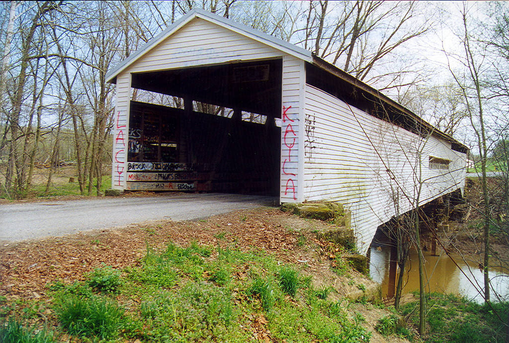 Huffman Mills Covered Bridge over the Anderson River.  Bridge is on the Perry and Spencer County Indiana line.  Photographed in April 1999.