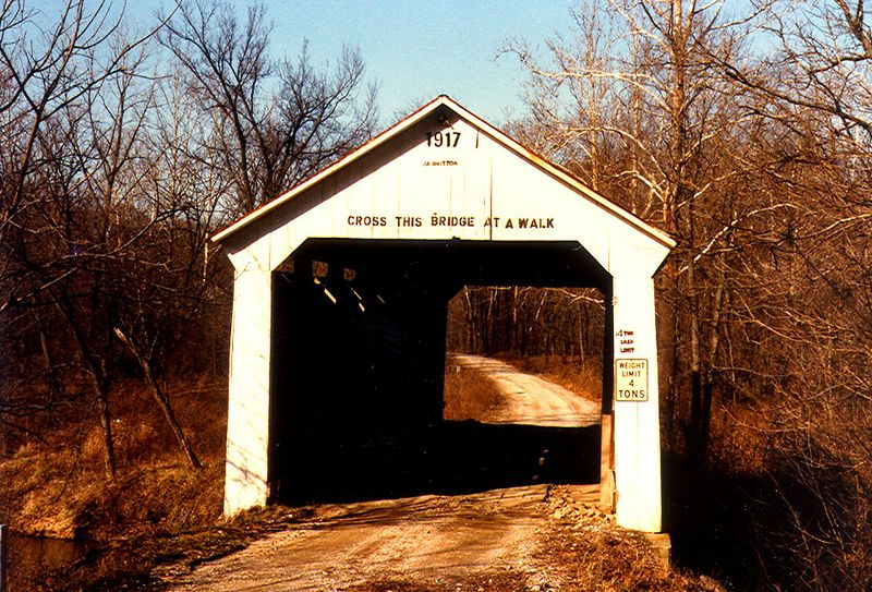 Marshall Covered Bridge, Parke County, Indiana.  Photographed in 1983.