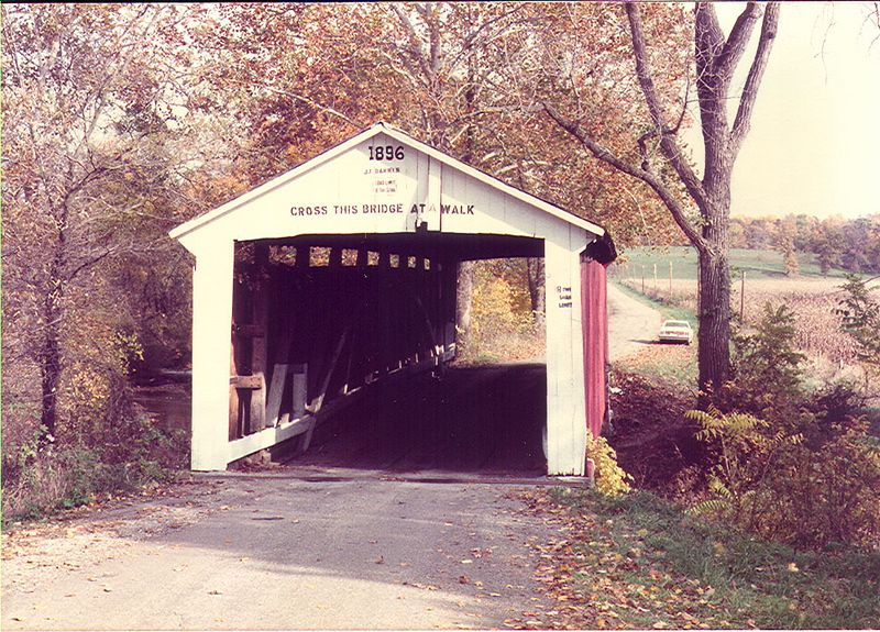 Melcher Covered Bridge, Parke County, Indiana.  Photographed Oct 1982.