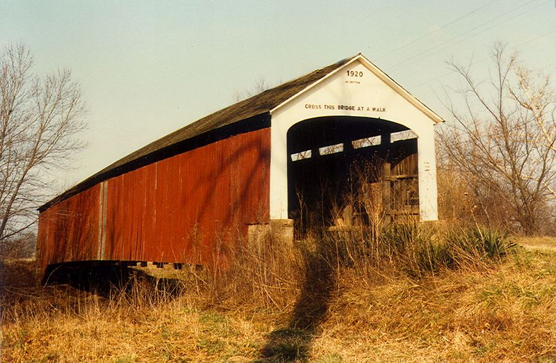 Nevin's Covered Bridge, Parke County, Indiana.  Photographed in January 1983.