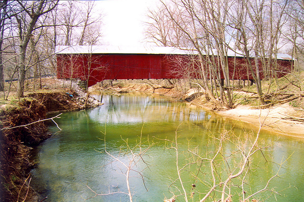Okalla Covered Bridge, Putnam County, Indiana.  Photographed in March 1999.